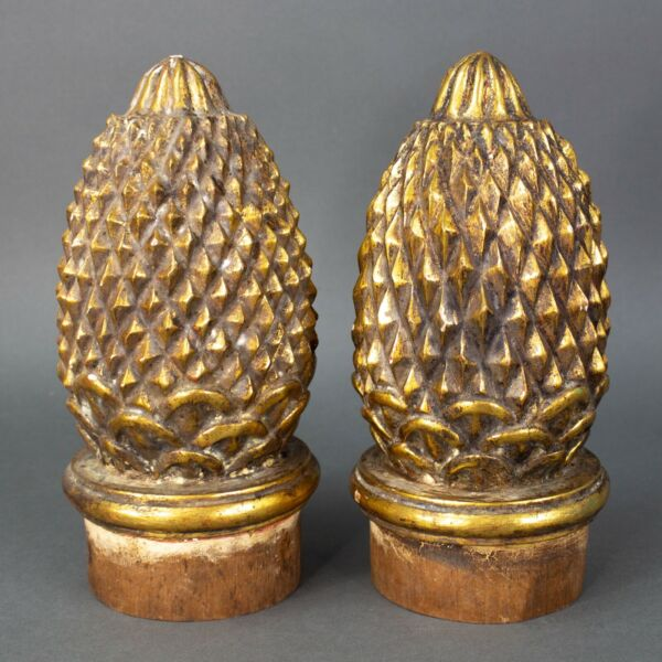 Pair of Large Wood Carved Pineapple Finials Newel Post Architectural Tops 9quot;
