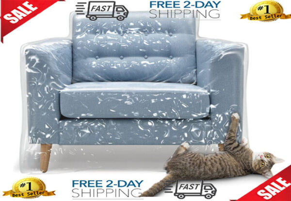 Plastic Furniture Covers Cat Scratch Dog Protector Recliner Chair Waterproof NEW $54.27