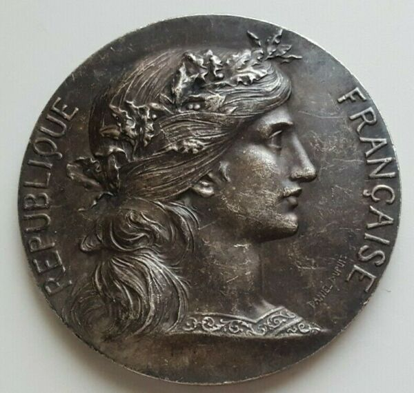 FRANCE SILVERED BRONZE MEDAL MARIANNE BY. D. DUPUIS H. DUBOIS 505mm 60g