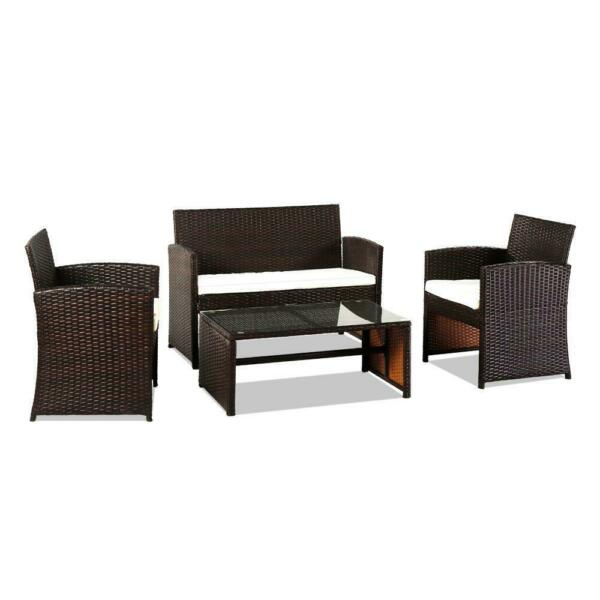4PCS Patio Outdoor Furniture Set Rattan Garden Seating Wicker Chair with Cushion $208.99