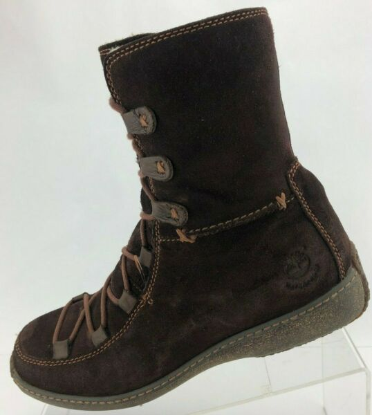 Timberland Winter Boots Reykir Ghillie Brown Shearling Wool Mid Calf Womens 8.5M $39.62