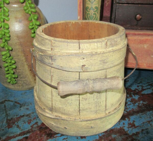 6quot; Early Firkin Wood Sugar Bucket Shaker Pantry Box Cream Pale Yellow Paint Bail
