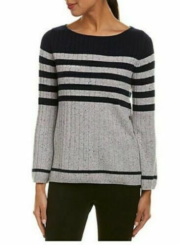 NEW St. john side button striped cashmere sweater Navy Gray Size L #S1747