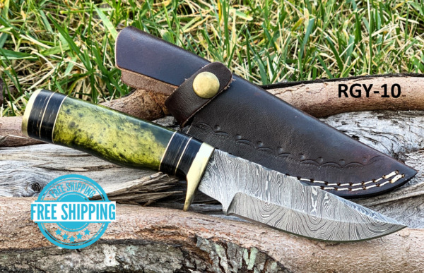 CUSTOM HAND FORGED DAMASCUS Steel Knife RESIN Green Yellow amp; Brass Guard Handle