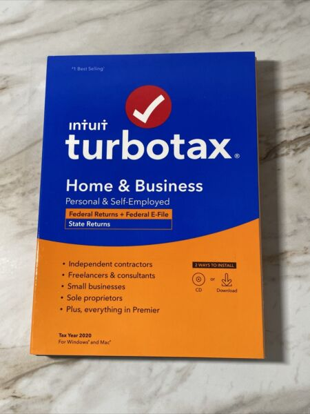 Turbotax 2020 Home amp; Business Federal CD for Mac or Windows
