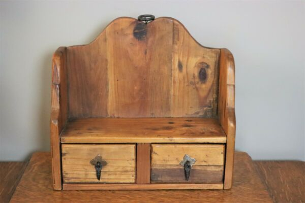 Small Antique Primitive Rustic Wooden Shelf with 2 Drawers amp; Metal Pulls