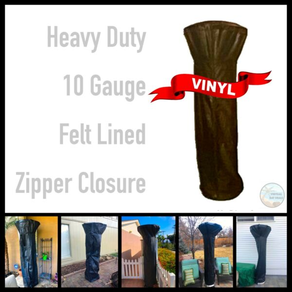 Full Length Outdoor Patio Heater Cover Heavy Duty Lined Vinyl Zipper Closure