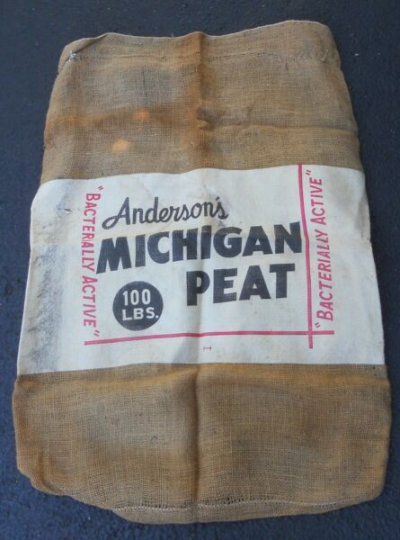 Vintage Burlap Bag Sack MICHIGAN PEAT 100 LBS