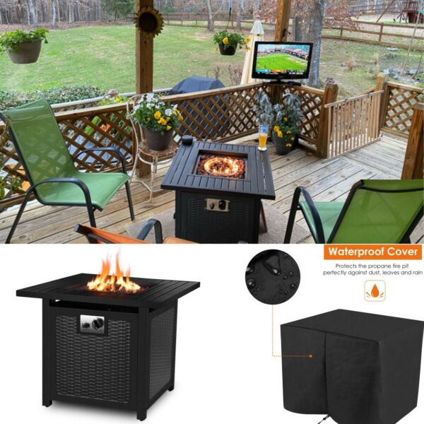 28quot; Propane Gas Fire Pit Table 50000 BTU Outdoor Backyard Heater Patio w Cover