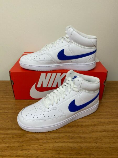 Nike Court Vision Mid Shoes White Game Royal CD5466 103 Men#x27;s NEW $54.99