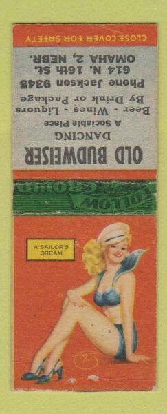 Matchbook Cover Old Budweiser Dancing Omaha NE pinup Beer? BOBTAIL