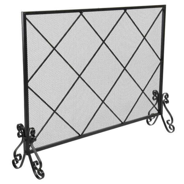 New Single Large Grid Panel Iron Fireplace Screen Black Fence Spark Guard Cover