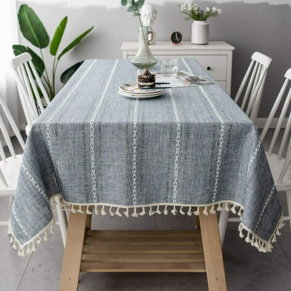 OstepDecor Round Tablecloth Round Table Cloth Cotton Linen Tablecloths Table