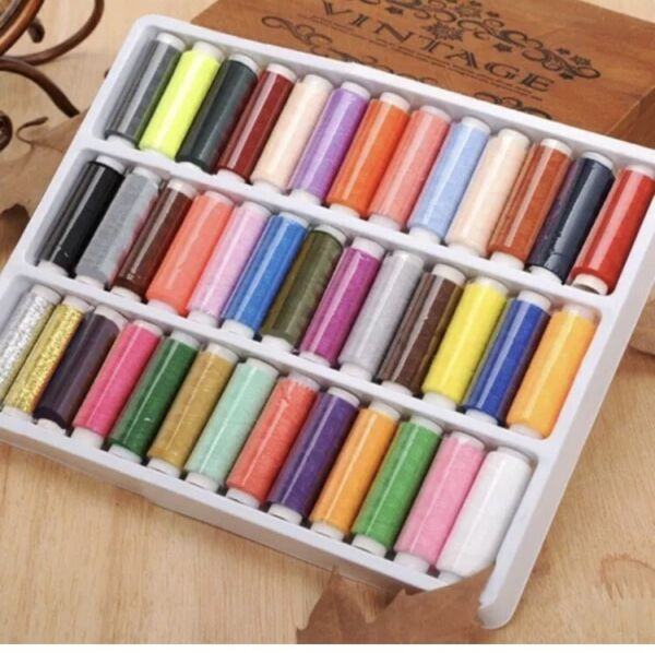 39PCS Set Assorted Colorful Polyester Sewing Thread Spools