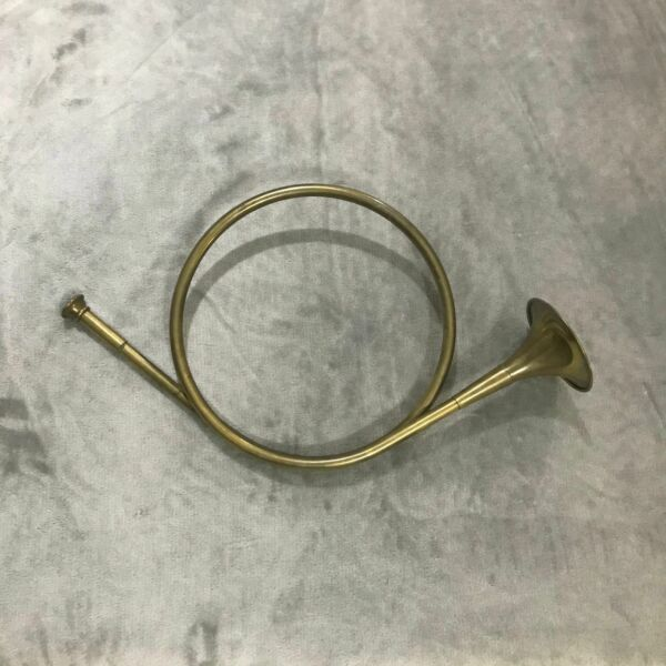 Vintage Brass Decorative French Horn Bugle Fox Hunt Round Bell Wall Decor 9.5quot;