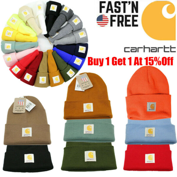 Men#x27;s Carhartt Acrylic Watch Hat Beanie Warm Winter Knit Cap Authentic Original
