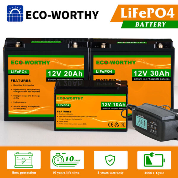 10AH 20AH 30AH 12V Rechargeable Lithium Battery LiFePO4 for RV Boat Solar Home $140.99