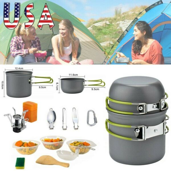 Portable Gas Camping Stove Butane Propane Burner Outdoor Hiking Picnic Cookware