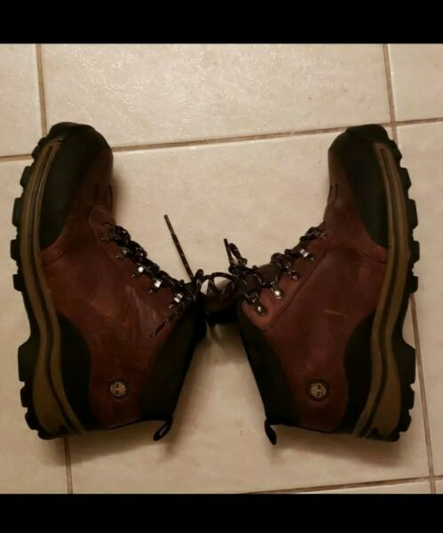Timberland Boys US Size 5.5 Waterproof Brown Leather Lace Up Hiking Boots EUC $26.50