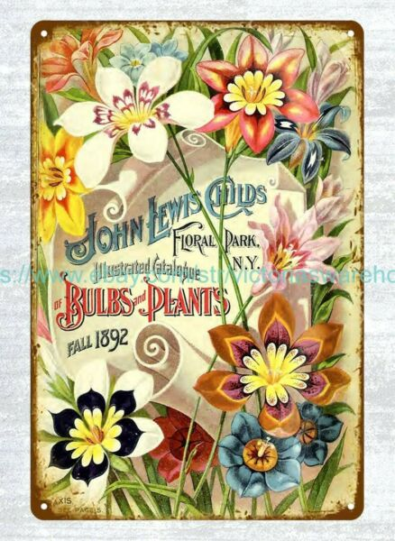 Sparaxis flower seed catalog John Lewis Childs Inc 1892 metal tin sign