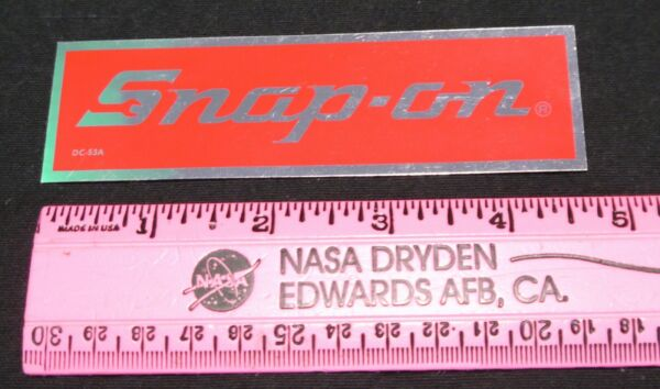 Snap on Tool Red and Chrome like Decal Sticker 4.75 X 1.5 Inches $4.00