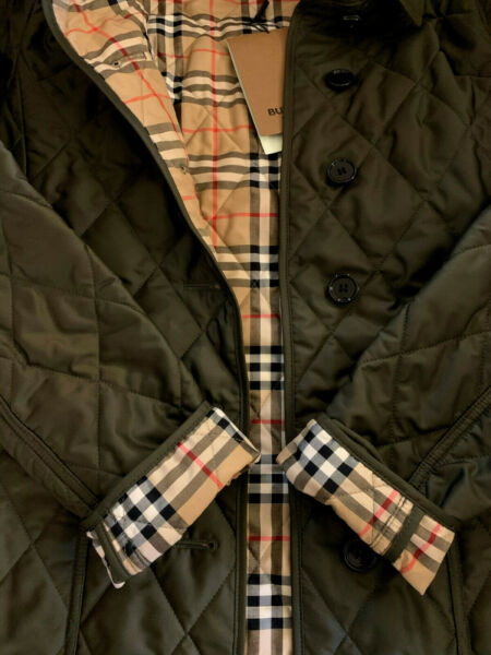 Burberry Women Fernleigh Vintage Check Quilted Jacket Olive Green Large NWT $750 $639.99