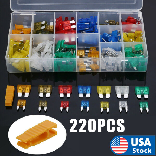 220pc Blade Fuse Assortment Auto Car Truck Motorcycle FUSES Kit ATC ATO ATM USA $10.59