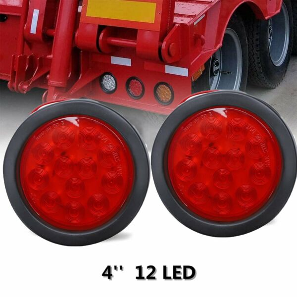 2x 12 LED 4quot; Round Truck Trailer RV Brake Stop Turn Tail Rubber Light Red