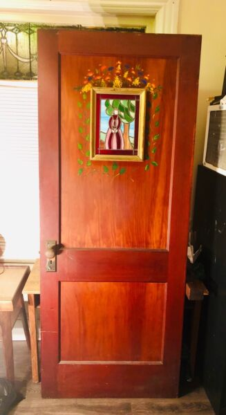 Antique heavy Wood Door painted stained glass windows folk art Rare $1000.00
