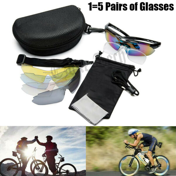 5 Lenses Cycling Polarized Sunglasses Eyewear Bike Riding Goggles Sports Glasses $17.95