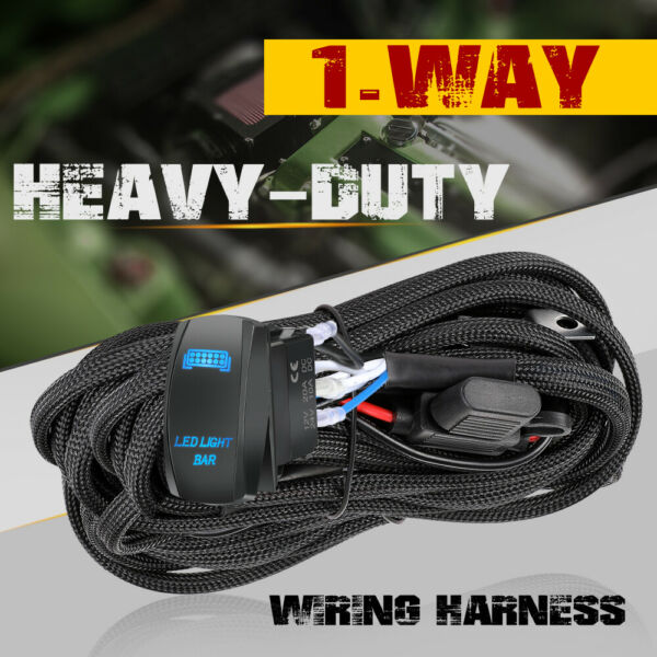 LED Work Light Bar Wiring Harness Kit 12V 40A Relay 5 Pin ON OFF ON Rock Switch