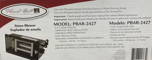 Pleasant Hearth PBAR2427 Wood Stove Blower Pleasant Vent Free Stove Blower $53.00