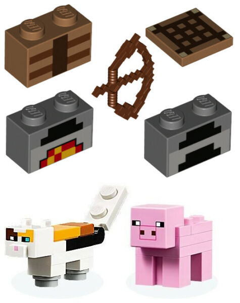 LEGO Minecraft Cat Pig Minifigures Crafting Table Parts 21160 Illager Raid
