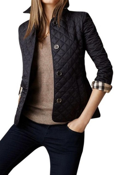 Burberry Women Ashurst Classic Check Diamond Quilted Jacket Coat Black Sz XS NWT $639.99