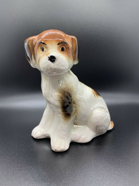 Vintage Ceramic Dog Figurine Made in Brazil Brown and White $12.00