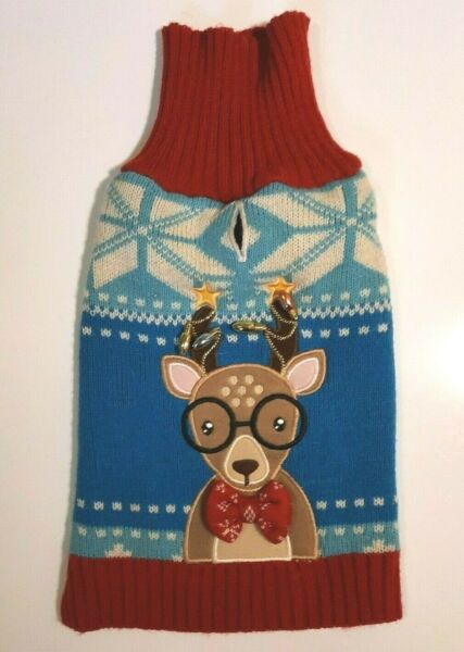 Ugly Dog Christmas Sweater With Reindeer amp; Light Bulbs Red amp; Blue Small Dog $8.50