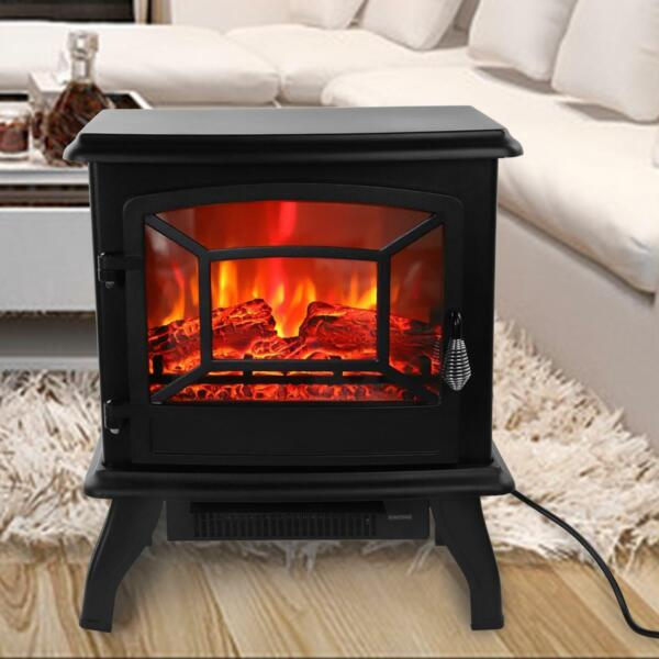 20quot; Portable Adjustable 1400W Electric Fireplace Heater Fire Flame Stove 68 95℉