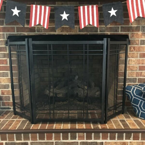 Durable Vintage Fireplace Screen Heavy Duty Protector Steel Large 3 Panel Safety