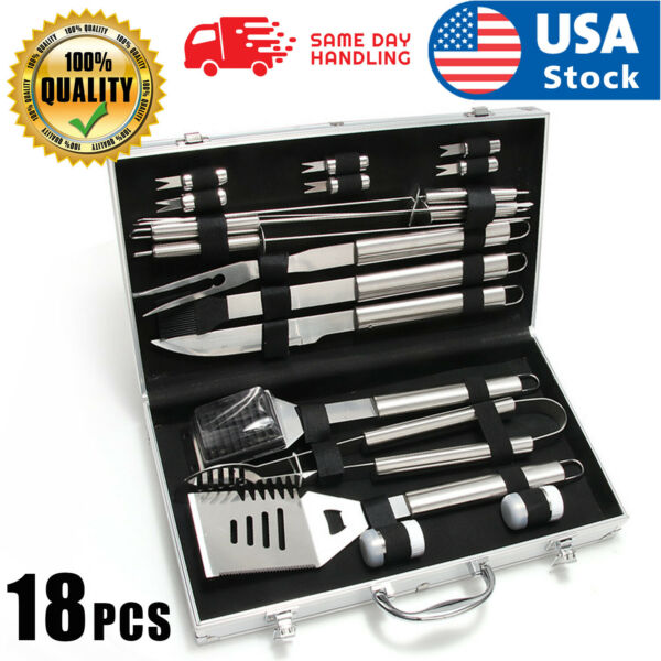 USA BBQ Grill Tool Set 18 Piece Stainless Steel Barbecue Grilling Accessories