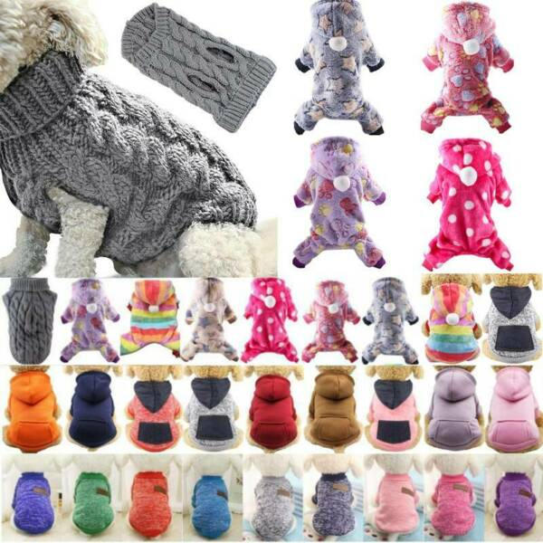 Pets Puppy Dog Cat Knit Sweater Jumper Hooded Warm Costumes Winter Coat Outfits $9.87