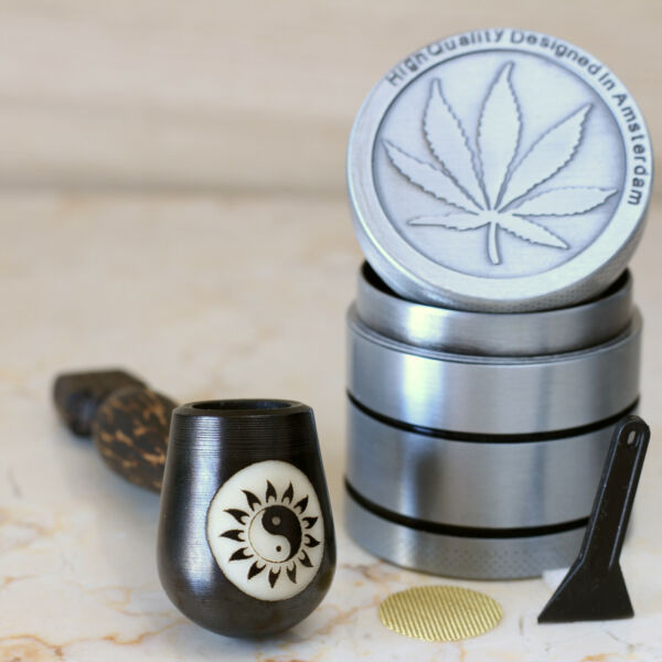 Star Ying Wood Pipe hand Carved smoking Pipe Tobacco Tagua Lg Pot amp; herb grinder $14.97