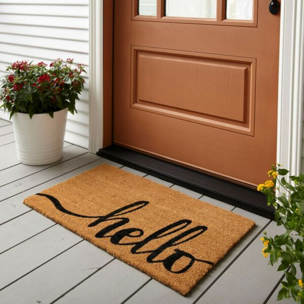 Home Entrance Outdoor Mat 18quot; x 30quot; Hello Design Welcome Carpet Front Door Brown