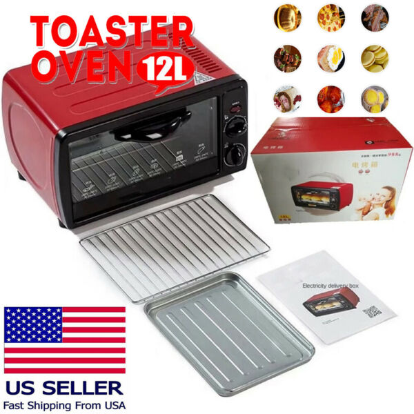 Large Capacity 12L Mini Electric Red Oven Bake Broiler Grill 110V Counter Top US