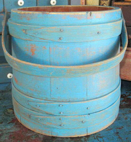 9 1 4quot; Early Firkin Wood Sugar Bucket Shaker Pantry Box Primitive Blue