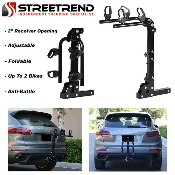 Hitch Mount Bike Rack 2 Bicycle Style Adjustable Foldable Trailer Carrier 2quot; SF $147.25