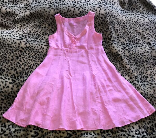 120% Lino Pink Linen Fit and Flare Sleeveless Midi Dress US 8 M EU 44 Worn Once $100.00