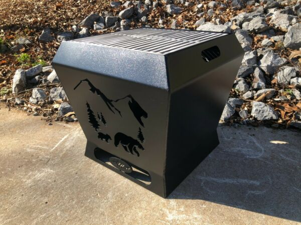 Outdoor Custom Products 18quot; Fire Pit Square Fire Pit with Grill Top Bear Scene