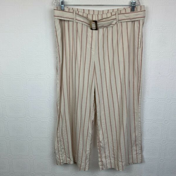 J Jill Linen Stretch Pants Large Crop Stripe Print Cream Tan Matching Belt A303 $30.00