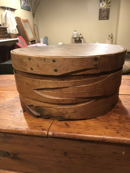 Large Antique Banded Pantry Box Thick Walled Copper Nails