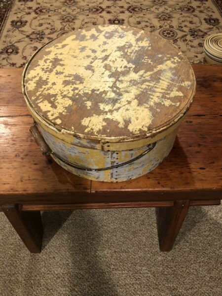 Large Antique Painted Pantry Box With Bail Handle Thick Walled